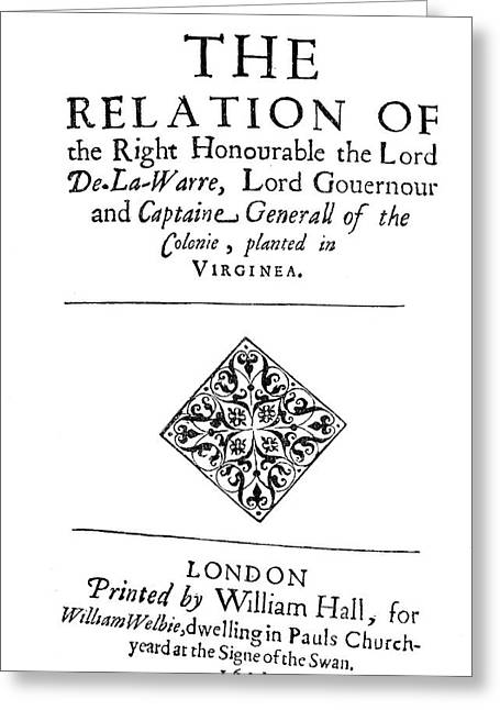 Virginia Title Page, 1611 Greeting Card by Granger
