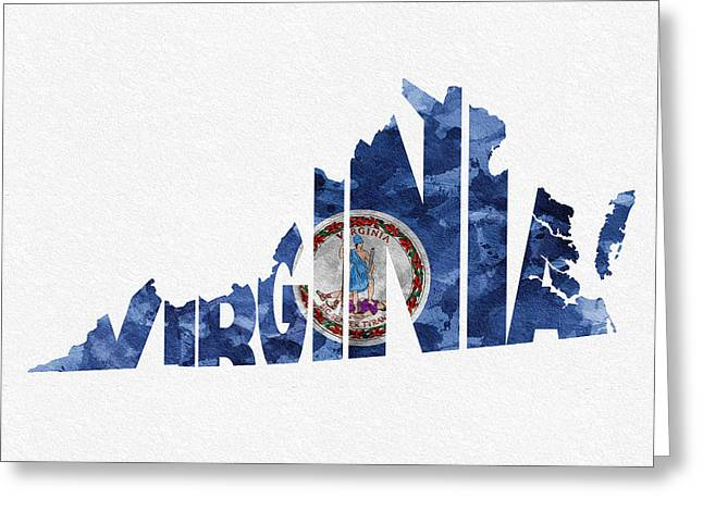 Roanoke Greeting Cards - Virginia Typographic Map Flag Greeting Card by Ayse Deniz