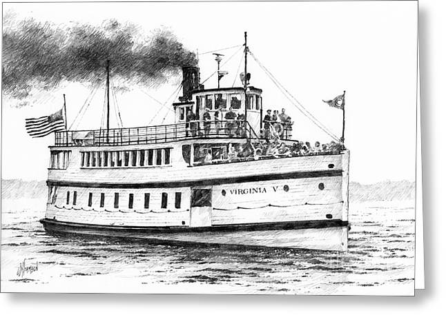 Seattle Framed Prints Greeting Cards - VIRGINIA V Steamship Greeting Card by James Williamson