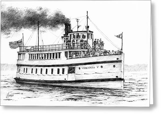 Virginia V Steamship Greeting Card by James Williamson