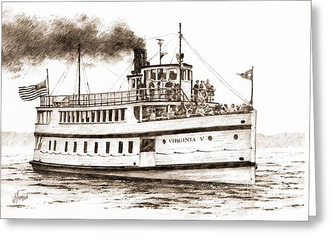Virginia V Steamship Sepia Greeting Card by James Williamson