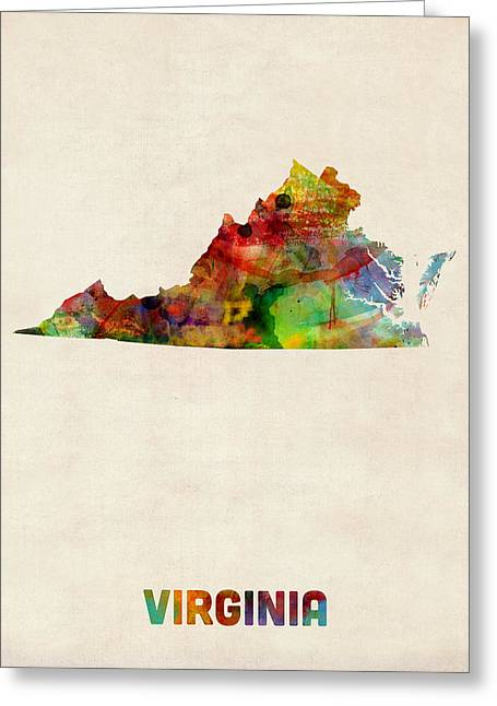 Usa Map Digital Greeting Cards - Virginia Watercolor Map Greeting Card by Michael Tompsett