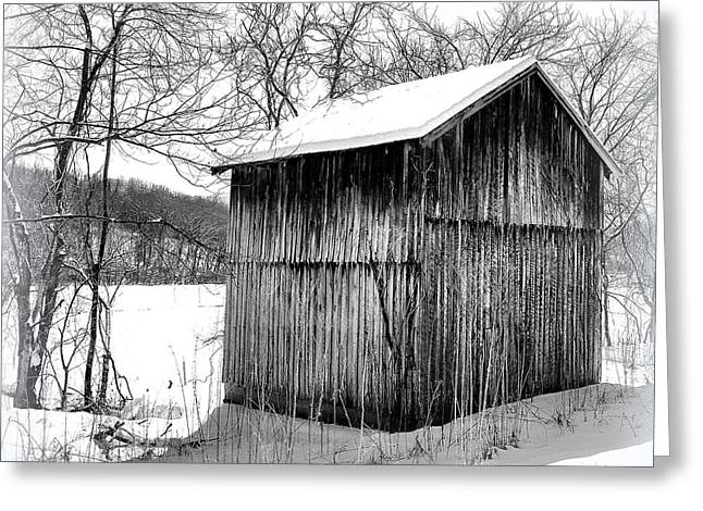 Snow-covered Landscape Greeting Cards - Virginia Winter Barn Greeting Card by Todd Hostetter