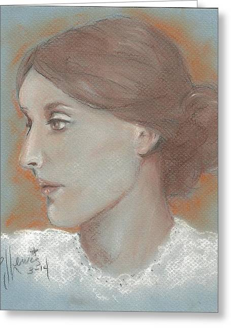 Important Drawings Greeting Cards - Virginia Woolf Greeting Card by P J Lewis