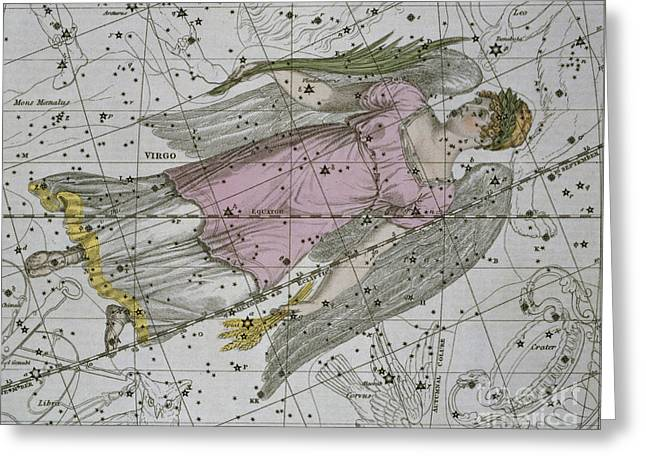Star Chart Greeting Cards - Virgo from A Celestial Atlas Greeting Card by A Jamieson