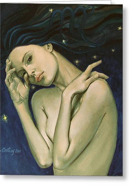 Constellations Paintings Greeting Cards - Virgo  from Zodiac series Greeting Card by Dorina  Costras