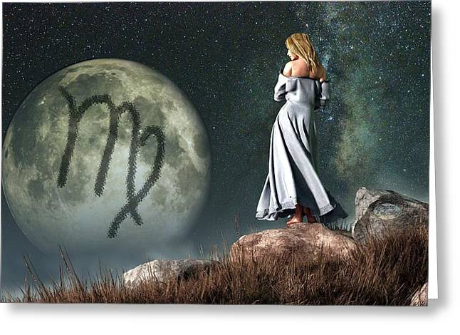 Maiden Greeting Cards - Virgo Zodiac Symbol Greeting Card by Daniel Eskridge