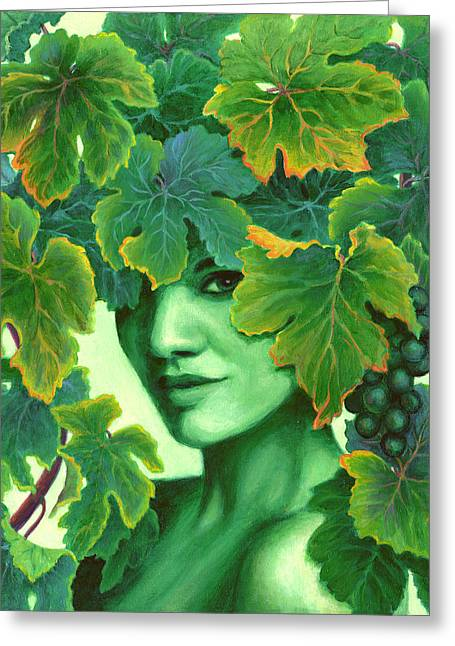 Earthy. Greens Greeting Cards - Virtue in the Vines Greeting Card by Sandi Whetzel