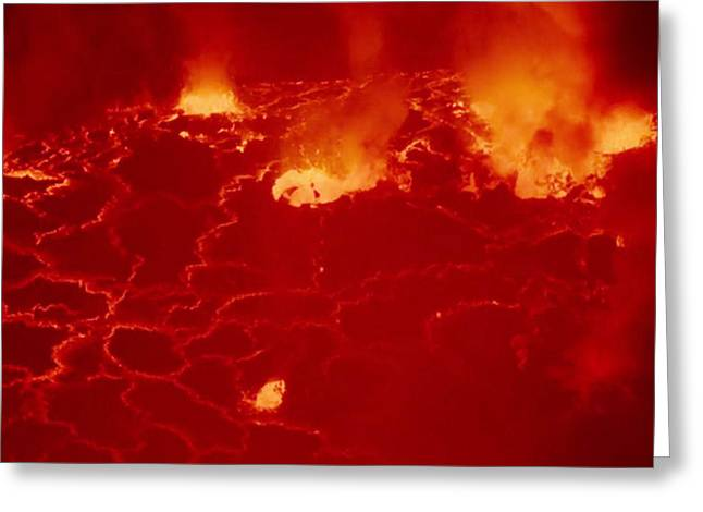 Africa Festival Greeting Cards - Virunga Mountains Congo Just waking up Volcano  image exploded view from long distance photography  Greeting Card by Navin Joshi