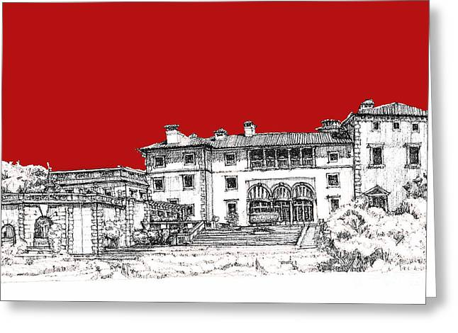 Detailed Ink Drawing Drawings Greeting Cards - Viscaya Museuem and gardens in scarlet Greeting Card by Building  Art