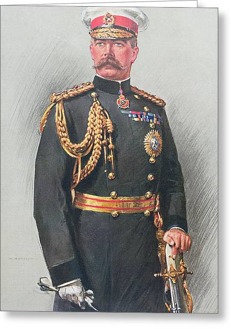 Gloves Drawings Greeting Cards - Viscount Kitchener of Khartoum Greeting Card by Walter Wallor Caffyn