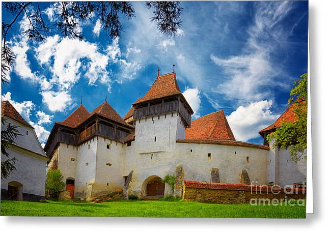 Mediaeval Greeting Cards - Viscri Fortified Church Greeting Card by Gabriela Insuratelu