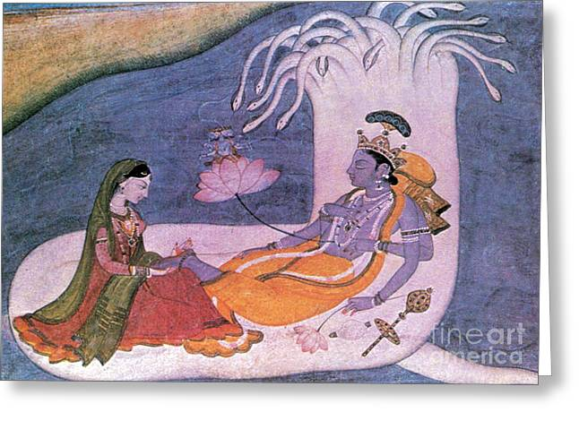 Vishnu And Lakshmi Float Across Cosmos Greeting Card by Photo Researchers