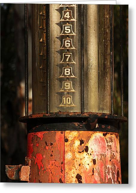 Fuel Gauge Greeting Cards - Visible Gas Pump Greeting Card by Art Block Collections