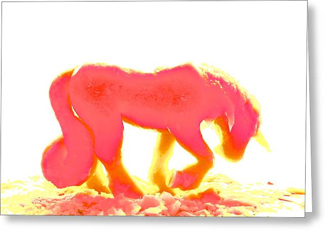 Fantastique Greeting Cards - Visible Pink Unicorn Greeting Card by Marc Philippe Joly