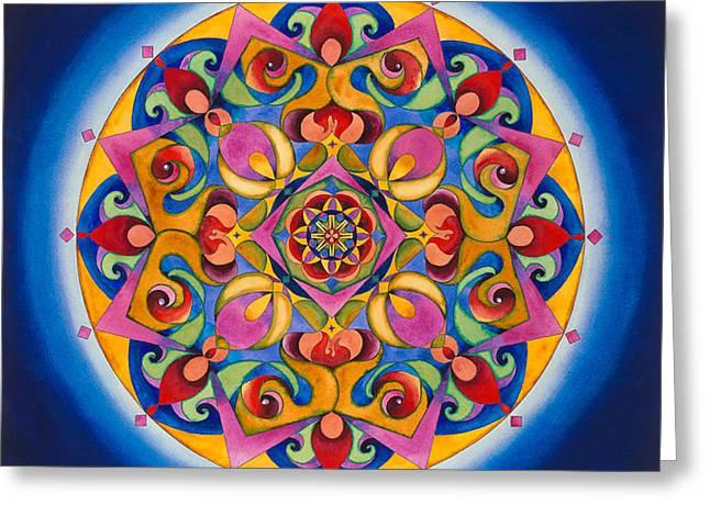 Harem Girl Greeting Cards - Vision - Brow Chakra Mandala Greeting Card by Vikki Reed