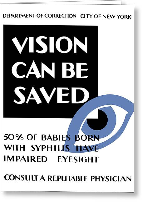 Progress Greeting Cards - Vision Can Be Saved WPA Greeting Card by War Is Hell Store