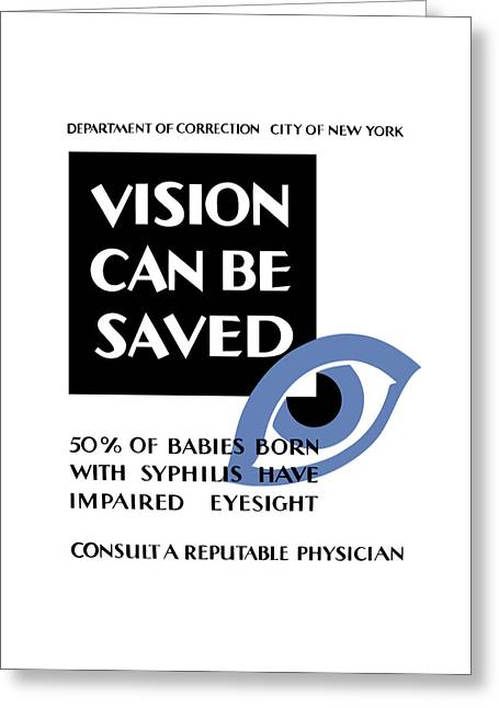 Progressed Mixed Media Greeting Cards - Vision Can Be Saved - WPA Greeting Card by War Is Hell Store