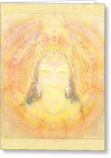 Hindu Goddess Greeting Cards - Vision of a Goddess - a Being of Light Greeting Card by Ananda Vdovic