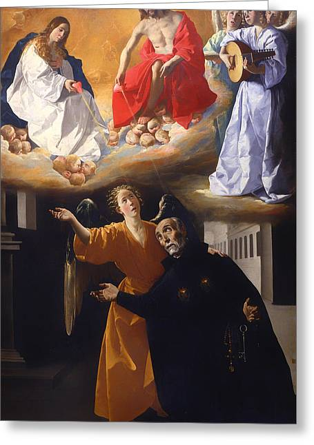 Religious Artwork Paintings Greeting Cards - Vision of Alonso Rodriguez  Greeting Card by Francisco de Zurban