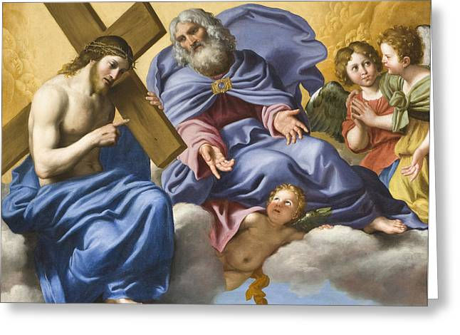 Jesus Christ Images Digital Art Greeting Cards - Vision of Christ and God Detail Greeting Card by Domenico Zampieri