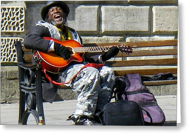 Geobob Greeting Cards - Vision of Ecstasy from Itinerant Street Musician at Bath Somerset England Greeting Card by Robert Ford