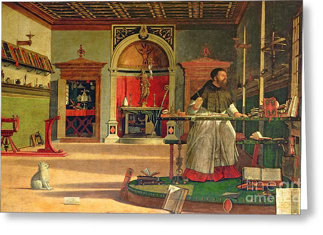 Small Dogs Greeting Cards - Vision of St. Augustine Greeting Card by Vittore Carpaccio