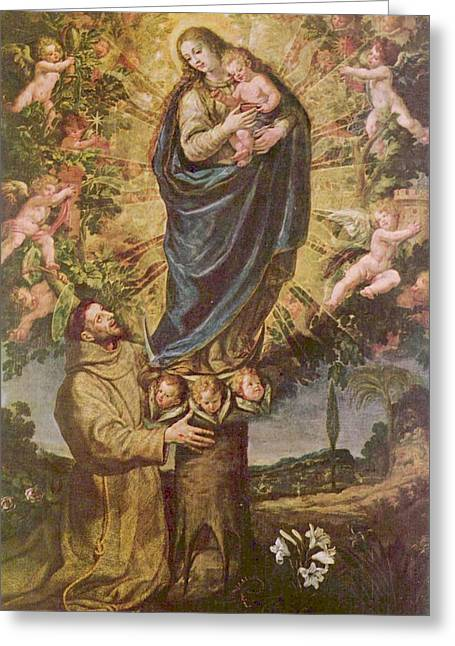 Portraits Of The Pope Greeting Cards - Vision Of St. Francis Of Assisi Greeting Card by Vicente Carducho