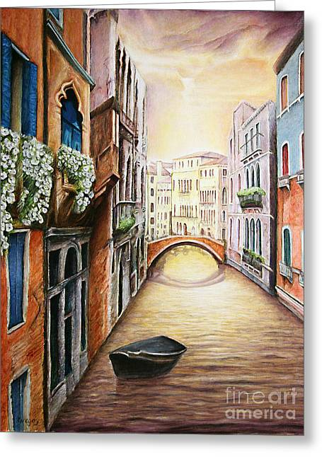 Kinkade Greeting Cards - Vision of Venice Greeting Card by Greg  Alexander