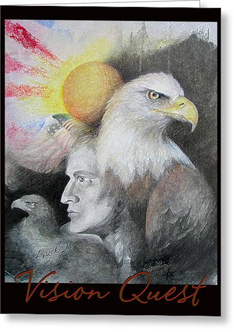 Bald Eagle Pastels Greeting Cards - Vision Quest  Greeting Card by Brooks Garten Hauschild