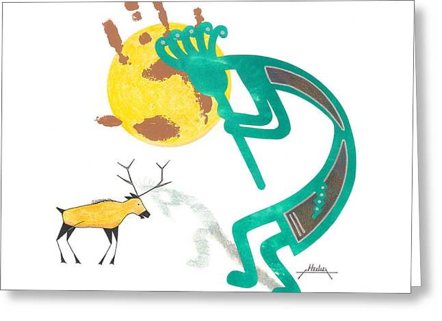 Kokopeli Greeting Cards - Vision Quest Greeting Card by Curtis Heilig