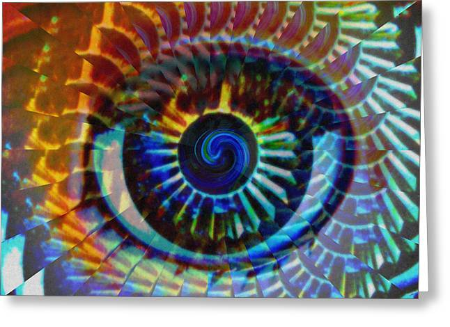 Red Eye Greeting Cards - Visionary Greeting Card by Gwyn Newcombe