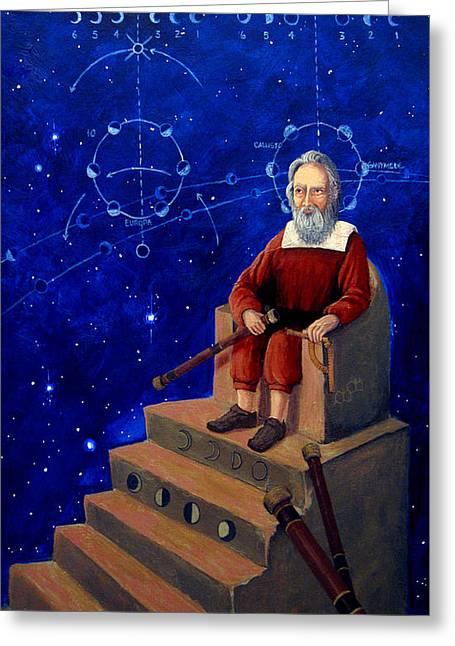 Galileo Greeting Cards - Visionary of Stars Galileo Galilei  Greeting Card by Janelle Schneider