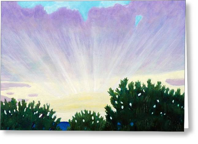 Sun Rays Paintings Greeting Cards - Visionary Sky Greeting Card by Brian  Commerford