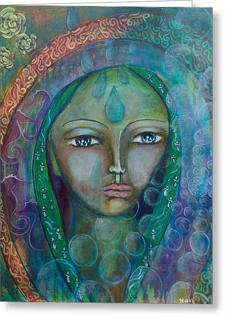 Visioning Woman Of Living Waters Greeting Card by Havi Mandell