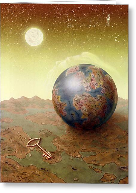 Terrestrial Sphere Paintings Greeting Cards - Visions Greeting Card by Achim Prill