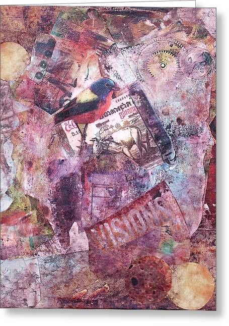 Cog Mixed Media Greeting Cards - Visions Greeting Card by Judy Tolley