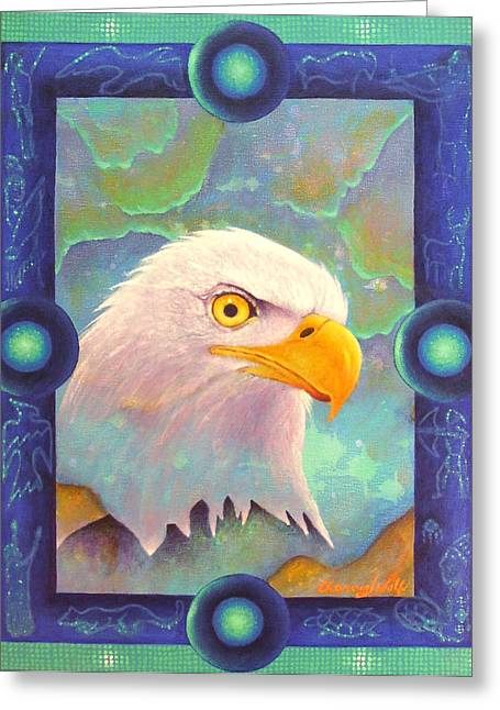 Spiritual Greeting Cards - Visions Greeting Card by Kevin Chasing Wolf Hutchins