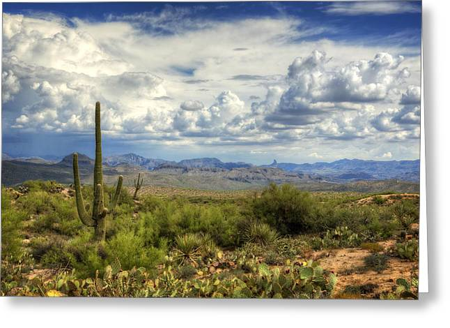 Monsoon Clouds Greeting Cards - Visions of Arizona  Greeting Card by Saija  Lehtonen