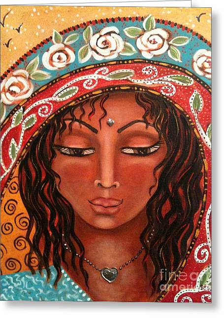 The Sacred Feminine Greeting Cards - Visions of Guadalupe Greeting Card by Maya Telford