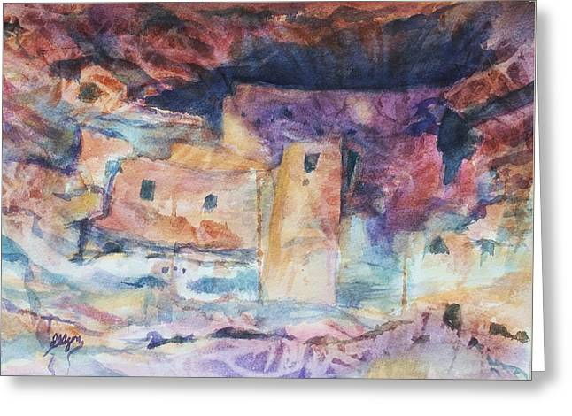 Beige Abstract Greeting Cards - Visions of Mesa Verde Greeting Card by Ellen Levinson