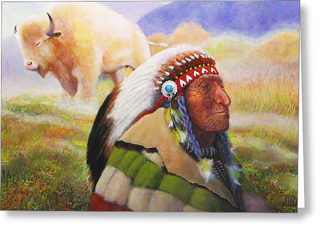 Colorful Indian Chief Greeting Cards - Visions Of The Sacred White Buffalo Greeting Card by Charles Wallis