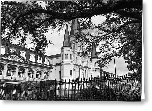 St. Louis Artist Greeting Cards - Visions of the St. Louis Cathedral mono Greeting Card by John Rizzuto