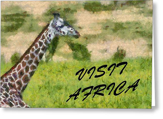 National Park Mixed Media Greeting Cards - Visit Africa Poster Greeting Card by Dan Sproul
