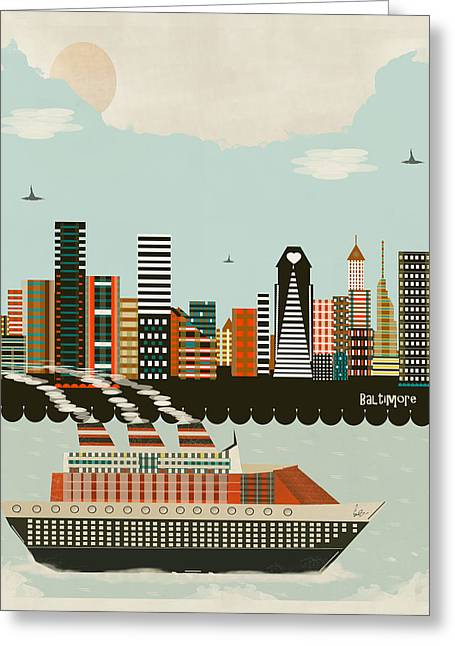 Colourfull Greeting Cards - Visit Baltimore Maryland Greeting Card by Bri Buckley