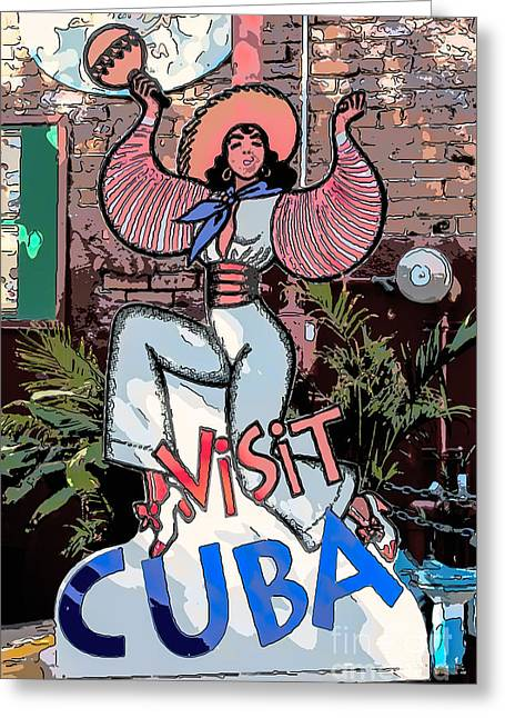 Habana Greeting Cards - Visit Cuba Sign Key West - Digital Greeting Card by Ian Monk