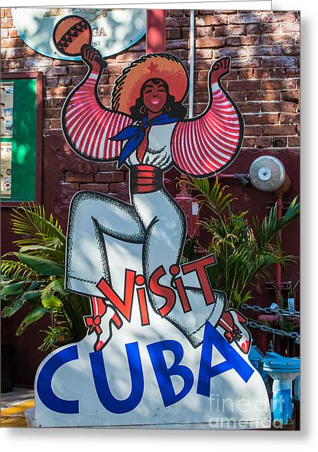 Habana Greeting Cards - Visit Cuba Sign Key West Greeting Card by Ian Monk