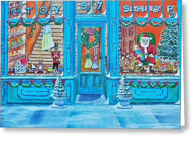 Toy Shop Paintings Greeting Cards - Visit To The Toy Shop Santa Greeting Card by Gordon Wendling