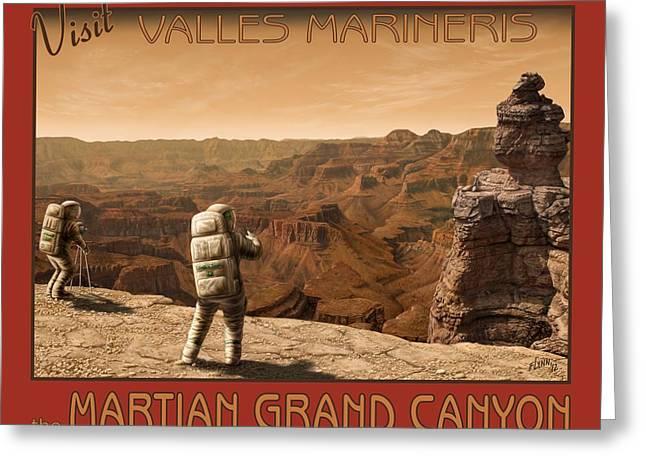 Alien World Greeting Cards - Visit Valles Marineris Greeting Card by Tharsis  Artworks