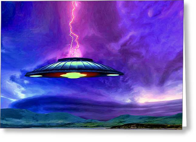 Lightning Strike Paintings Greeting Cards - Visitation Greeting Card by Dominic Piperata